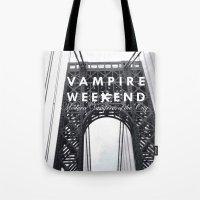 vampire weekend Tote Bags featuring Vampire Weekend / George Washington Bridge by Harold's Visuals