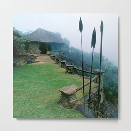 Rustic African Eco Lodge on Misty Mountaintop Metal Print