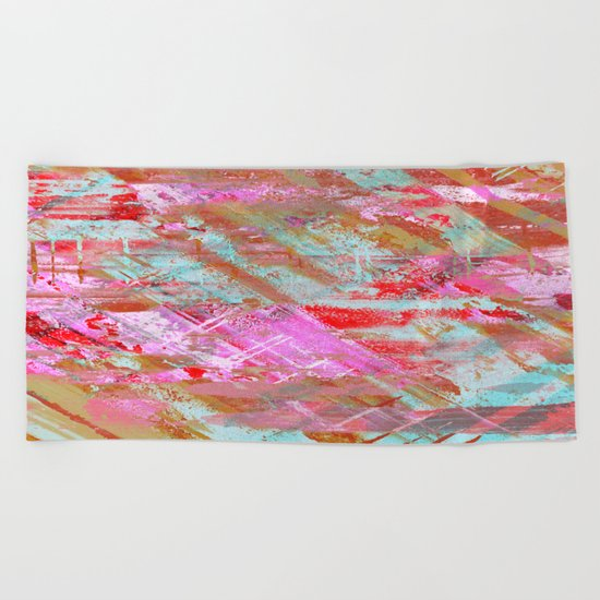 Confidence - Abstract, textured oil painting Beach Towel