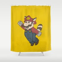 super mario Shower Curtains featuring Super Mario Racoon by sbs' things