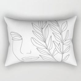 Minimal Line Art Woman Face Rectangular Pillow