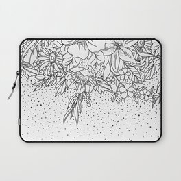 Cute Black White floral doodles and confetti design Laptop Sleeve