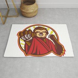 Sloth Fighter Self Defense Circle Mascot Rug