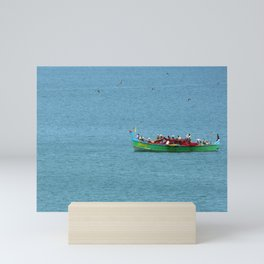 Colorful Wooden Fishing Boat at Sea, India Mini Art Print