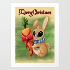 Bunny Xmas Card Art Print