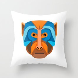 Rhesus Macaque Head Flat Icon Throw Pillow
