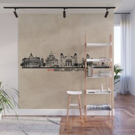 Helsinki skyline black city  Wall Mural