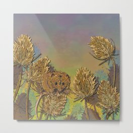 Harvest Mouse and Teasels Metal Print