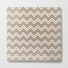 Chevron Pattern | Orange Grey Black White Metal Print