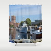 oslo Shower Curtains featuring Minesweeper Alta In Oslo by Malcolm Snook