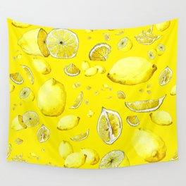 Lemon Lust on Yellow Wall Tapestry