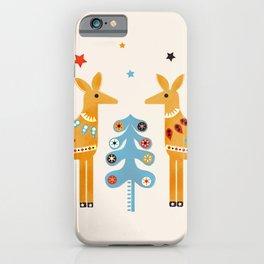 Festive deers -  retro illustration iPhone Case