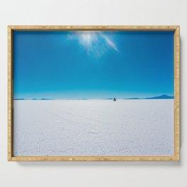 In the Distance, Salar de Uyuni, Bolivia Salt Flats Serving Tray