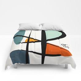 Abstract Minimal Lyrical Expressionism Art Blue Orange Comforters