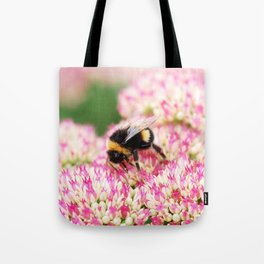 pink flowers and bee Tote Bag