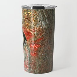 Weathered Wood Texture with Keyhole Travel Mug