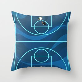 Blue Camouflage Street Basketball Court Throw Pillow