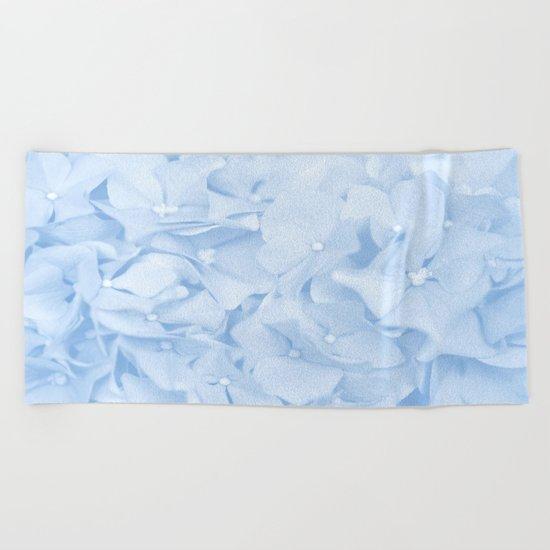 Pastel Blue Flowers Beach Towel