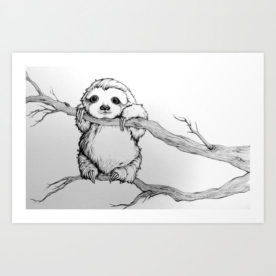 baby sloth art print by isabel moffly society6