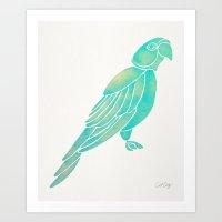 Perched Parrot – Mint Palette Art Print
