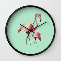flamingos Wall Clocks featuring FLAMINGOS by ArtSchool