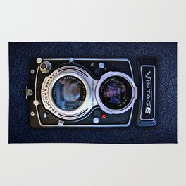 Vintage black double lens camera iPhone 4 5 6 7 8 x, pillow case, mugs and tshirt Rug