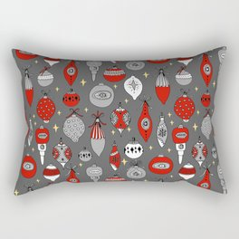 Ornaments christmas vintage classic red and white hand drawn christmas tree ornament pattern Rectangular Pillow
