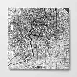 Shanghai Map Gray Metal Print