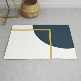 Fusion Minimalist Geometric Abstract in Mustard Yellow, Navy Blue, and White Rug