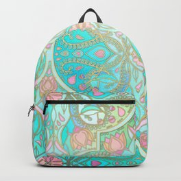 Floral Moroccan in Spring Pastels - Aqua, Pink, Mint & Peach Backpack
