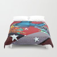 graffiti Duvet Covers featuring graffiti by mark ashkenazi