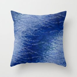 Wind-whipped Vines (blue) Throw Pillow