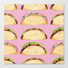 Quirky Taco Pattern in Pink by Elizabeth Caparaz Canvas Print