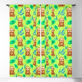 Funny cute happy cross-legged meditating relaxed chilling sloths and tropical rainforest exotic gree Blackout Curtain