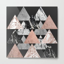 Marble Rose Gold Silver and Floral Geo Triangles Metal Print
