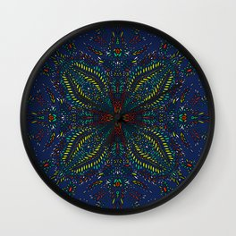 Mexican Chromatic Pattern Blue Wall Clock