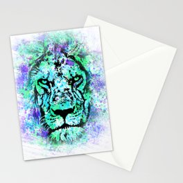 Face of a lion. Grunge style. Stationery Cards