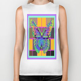Colorful Opalescent Butterfly  Abstract Art Design Biker Tank