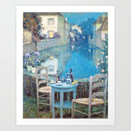 Henri Le Sidaner - Small Table in Evening Dusk (new color editing) Art Print