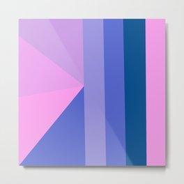 Geometrical modern pastel pink lilac blue stripes triangles Metal Print