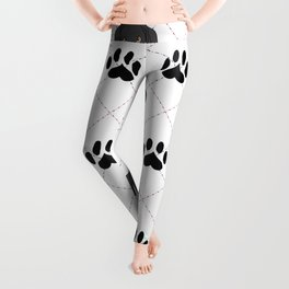 Black Great Dane Paw Print Pattern Leggings