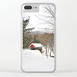 Red Covered Bridge in a Snowy Mountain Forest Clear iPhone Case