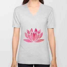 Zen Watercolor Lotus Flower Yoga Symbol Unisex V-Neck
