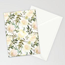 Modern blush yellow pink green watercolor botanical pattern Stationery Cards