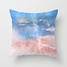 Corn flower blue vague watercolor Throw Pillow