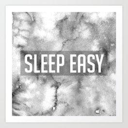 Sleep Easy Marble Mantra Art Print