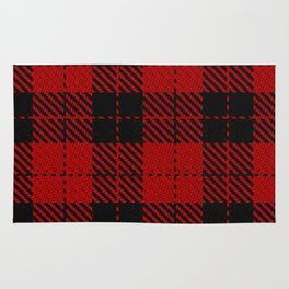 hipster red & black - holiday and everyday classic tartan check plaid nostalgic Rug