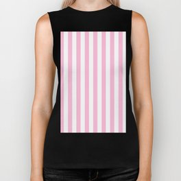 Narrow Vertical Stripes - White and Cotton Candy Pink Biker Tank