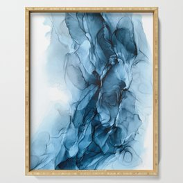 Deep Blue Flowing Water Abstract Painting Serving Tray