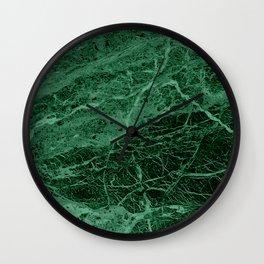 Dark emerald marble texture Wall Clock